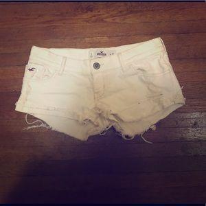 Hollister white denim shorts